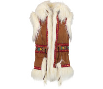Faux Fur-trimmed Embroidered Faux Suede Gilet Braun