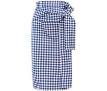 Saturnio Belted Gingham Cotton-bend Pencil Skirt