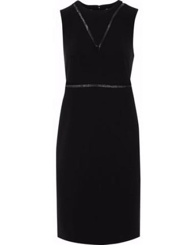 Pvc-trimmed Crepe Dress Black