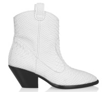 Snake-effect Leather Ankle Boots Weiß