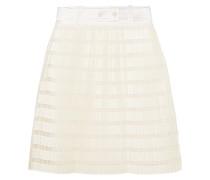 Pleated Satin And Organza Mini Skirt Elfenbein