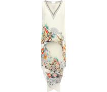 Asymmetric Crystal-embellished Printed Silk Crepe De Chine Tunic