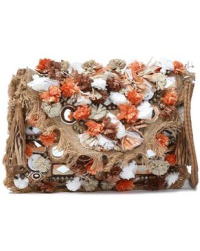 Embellished Woven Raffia Shoulder Bag Sand Size --
