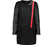 Cortney asymmetric faux leather-paneled woven coat