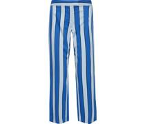 Cropped Striped Twill Wide-leg Pants