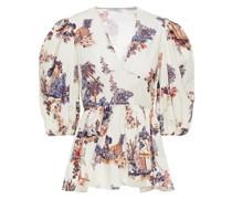 Bedruckte Bluse aus Baumwollpopeline mit Raffung und Schößchen