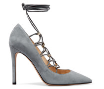 Rockstud Lace-up Suede And Leather Pumps Stein