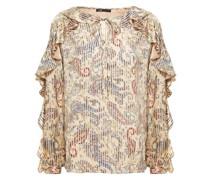 Loodie Ruffled Printed Satin-jacquard Blouse