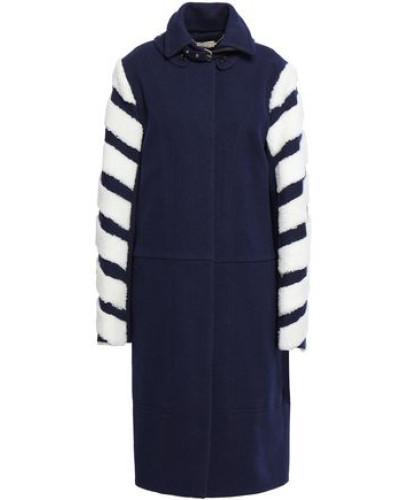 Shearling-paneled Wool-blend Tweed Coat Midnight Blue