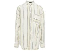Striped Linen-blend Gauze Shirt