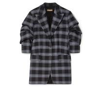 Gathered Checked Wool-blend Twill Blazer