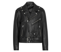 Rebel Fringe-trimmed Textured-leather Biker Jacket