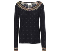 Woman Crystal-embellished Jersey Top Black