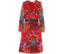 Bead-embellished printed silk-chiffon dress