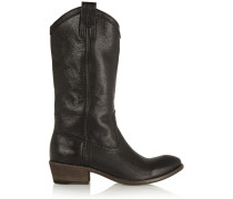 Carson Textured-leather Boots Black