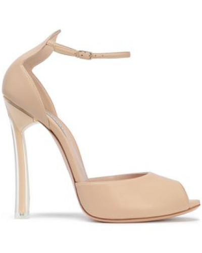 Pvc-paneled Leather Peep-toe Pumps Neutral