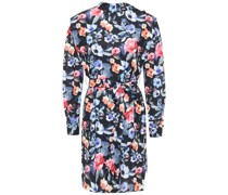 Minikleid aus Webstoff mit Floralem Print und Gürtel