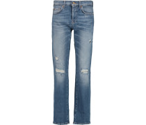 Jared Distressed Boyfriend Jeans Mittelblauer Denim