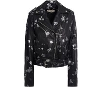 Metallic Floral-print Leather Biker Jacket