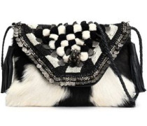 Embellished shearling shoulder bag