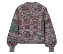 Gio Melierter Pullover mit Zopfstrickmuster
