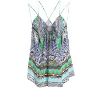 Woman Embellished Gathered Printed Silk Crepe De Chine Camisole Jade