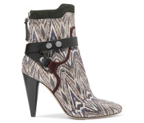 Redford Snake-effect Leather Ankle Boots Schwarz