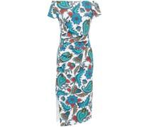 Devis Schulterfreies Kleid aus Scuba mit Raffungen und Print