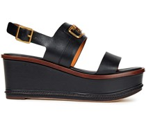 Selby 80 Embellished Color-block Leather Wedge Sandals