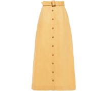 Belted Linen Maxi Skirt