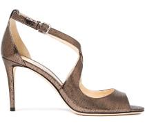 Emily 85 Metallic Lizard-effect Leather Sandals