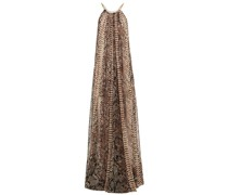 Chain-trimmed Gathered Snake-print Georgette Gown