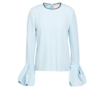 Woman Gathered Crepe Top Sky Blue