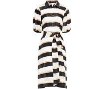 Belted Striped Jacquard Midi Dress