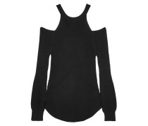 Cold-shoulder Ribbed Cotton Sweater Schwarz