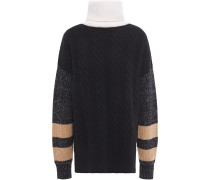 Paneled Cable-knit Wool-blend Turtleneck Sweater