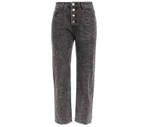 Woman Cropped Acid-wash Mid-rise Straight-leg Jeans Dark Gray