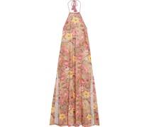 Lucilla Neckholder-maxikleid aus Baumwolle mit Floralem Print und Lochstickerei