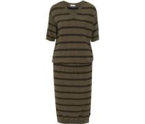 Striped metallic cashmere-blend dress