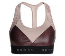 Mesh-paneled two-tone stretch sports bra