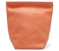 Textured-leather Clutch Pfirsich