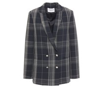 Verlaine Double-breasted Checked Crepe Blazer