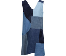 Marten Patchwork Denim And Suede Mini Dress Mehrfarbig