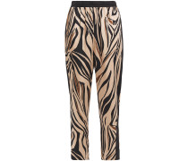 Kyle Cropped Zebra-print Satin-twill Tapered Pants