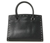 Studded Textured-leather Tote