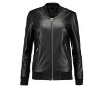 Aterbo Leather Bomber Jacket Schwarz