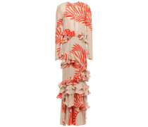 California Dreaming Ruffled Tiered Printed Silk-crepe Gown
