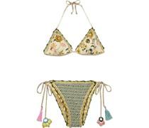 Wendbarer Triangel-bikini mit Print und Häkelbesatz
