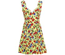 Riona Pleated Floral-print Silk Crepe De Chine Mini Dress