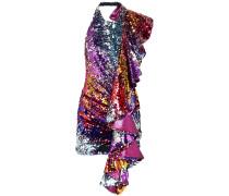 Ruffled Sequined Tulle Halterneck Mini Dress